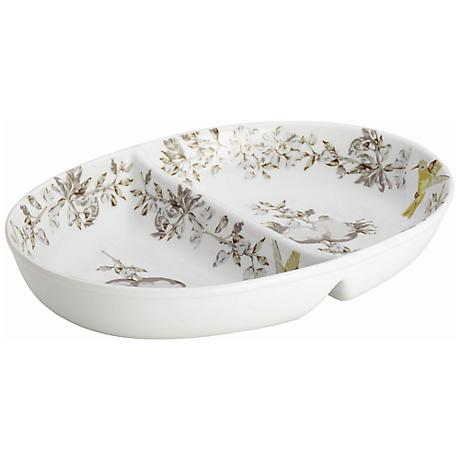 BonJour Dinnerware Porcelain Print Stoneware Divided Dish