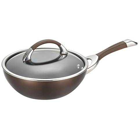 "Circulon Chocolate Nonstick 9 1/2"" Covered Stir Fry"