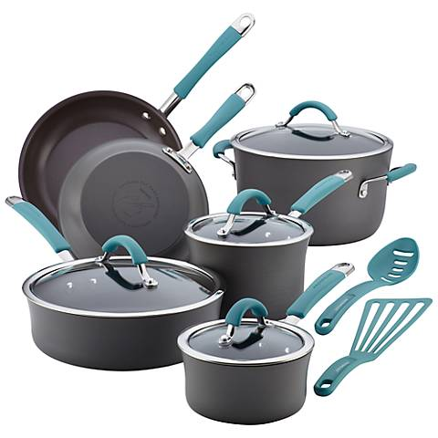 Rachael Ray Gray and Blue Nonstick 12-Piece Cookware Set