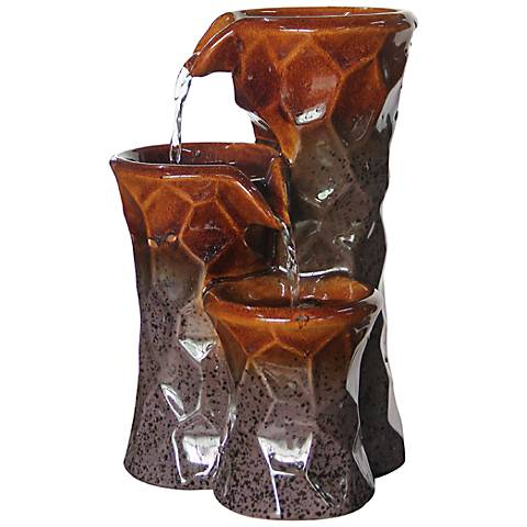 """Honeycomb Moderne 3-Tier Ceramic 10"""" High Tabletop Fountain"""