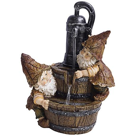 """Twin-Gnome Water Pump Tabletop 12"""" High Fountain"""