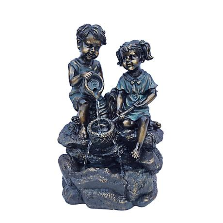 "Water Play Bronze 14"" High Tabletop Fountain"