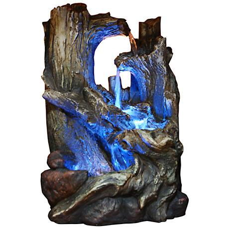 Tree Trunk Dark Gray LED Floor Fountain