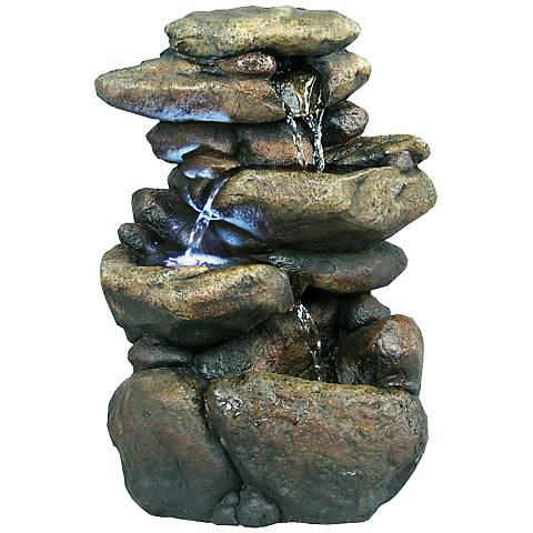 "Rock Formation 3-Tier LED 11"" High Tabletop Fountain"