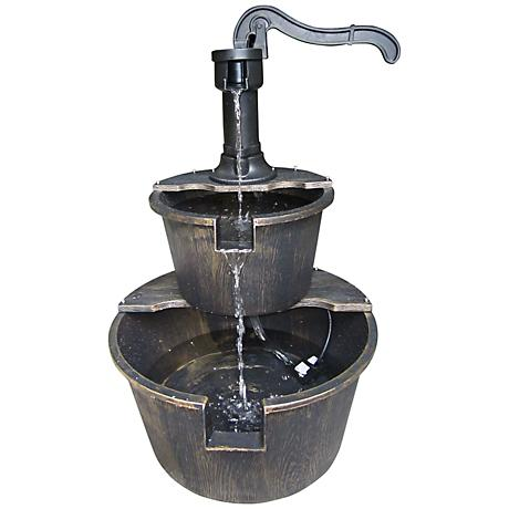 "Pump and Barrels 2-Tier Bronze 27"" High Fountain"