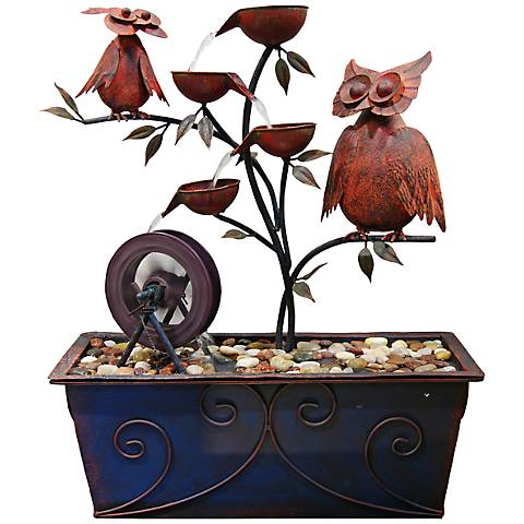 "Owl Tree Tiered 24"" High Indoor Fountain"