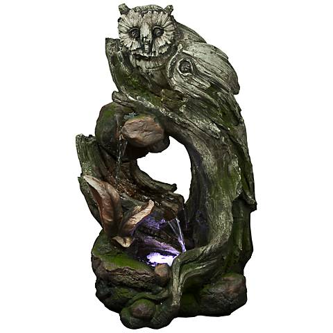 "Rainforest Owl LED 32"" High Indoor - Outdoor Fountain"