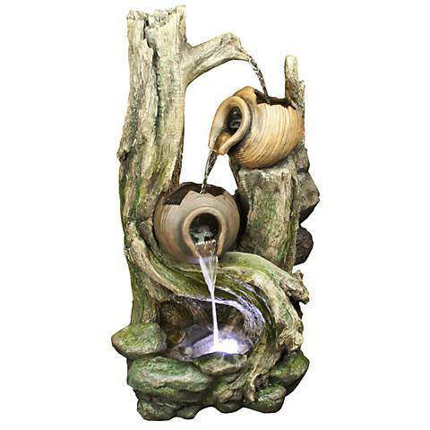"Rainforest 39"" High Waterfall Tiered Jars LED Floor Fountain"