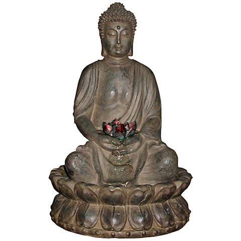 "Stone Buddha LED 19"" High Tabletop Fountain"