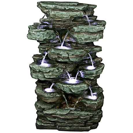 Rainforest Waterfall Stacked Tier LED Floor Fountain