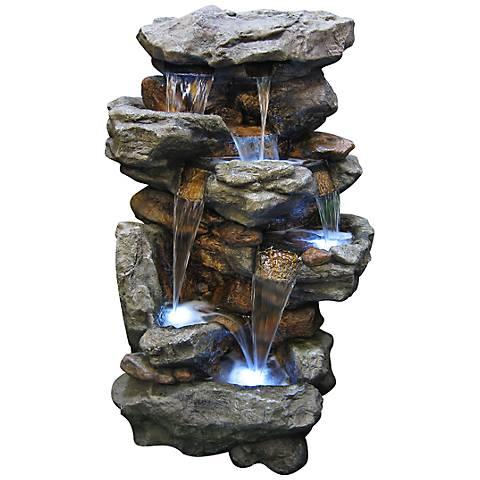 "Rainforest Waterfall Tall LED 51"" High Floor Fountain"