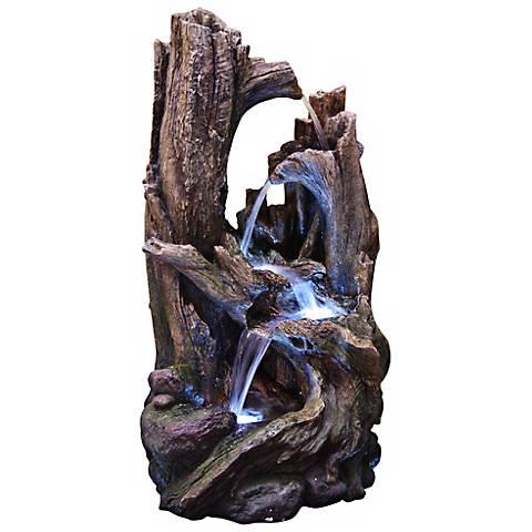 "Tree Trunk Stone 40"" High LED Floor Fountain"