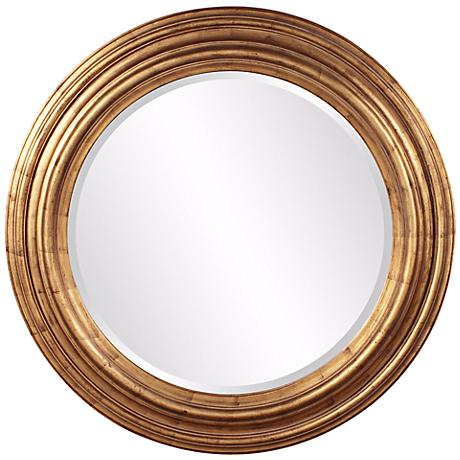 "Howard Elliott Ryder 43"" Round Country Gold Wall Mirror"