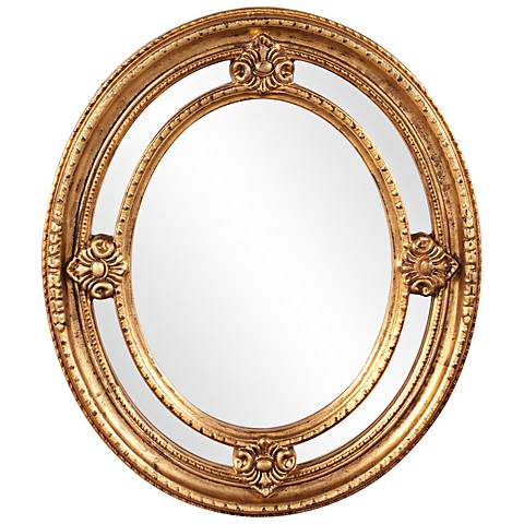"Howard Elliott Maxine 24"" x 28"" Gold Oval Vanity Mirror"