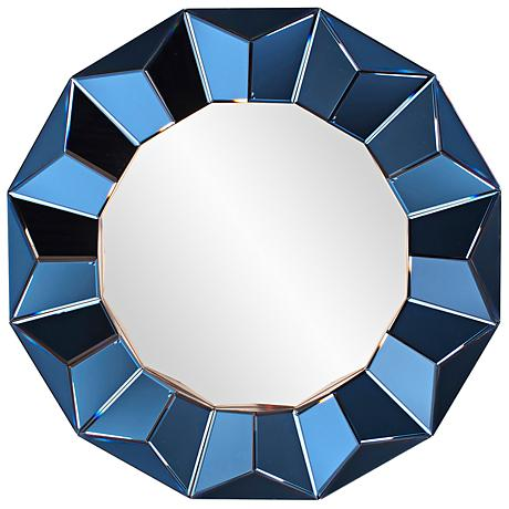 "Howard Elliott Kaleidoscope 38"" Round Cobalt Blue Mirror"