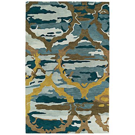 Kaleen Brushstrokes BRS02-17 Deep Blue Wool Area Rug