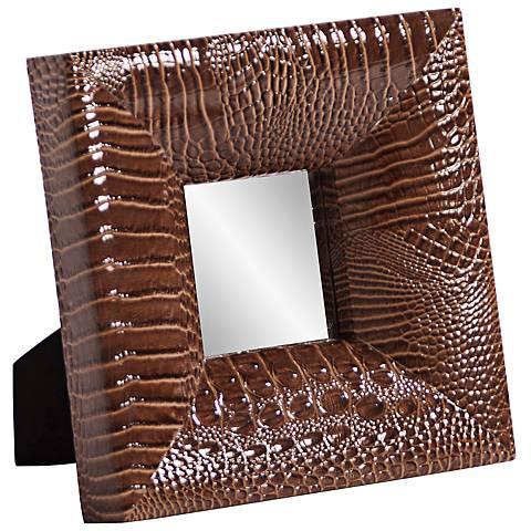 "Howard Elliott Outback 9"" Square Faux Crocodile Mirror"