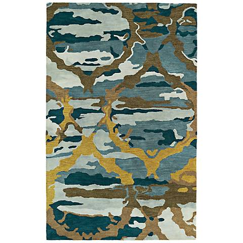 Kaleen Brushstrokes BRS02-17 Deep Blue Wool Area Rug