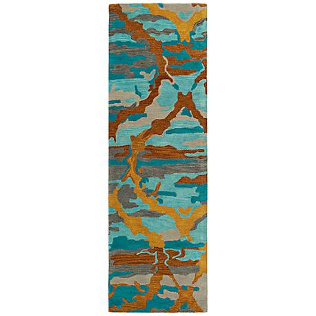 Kaleen Brushstrokes BRS02-91 Teal Wool Area Rug