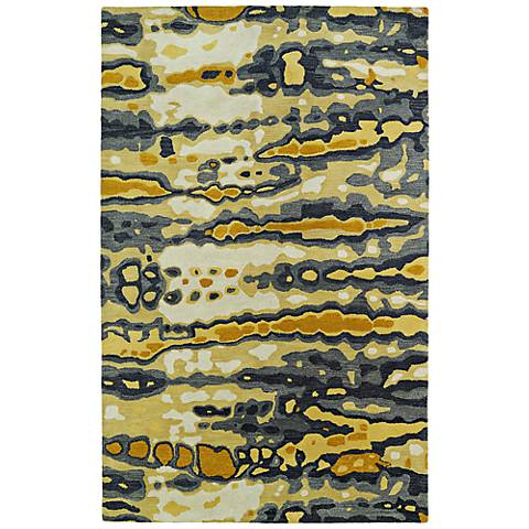 Kaleen Brushstrokes BRS03-05 Gold Wool Area Rug