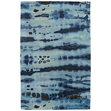 Kaleen Brushstrokes BRS03-17 Navy Blue Wool Area Rug