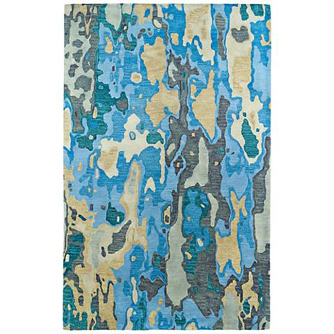 Kaleen brushstrokes brs05 17 bright blue wool area rug for Bright blue area rug