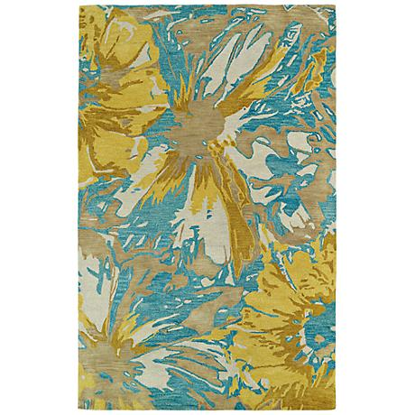 Kaleen Brushstrokes BRS06-05 Gold and Blue Wool Area Rug