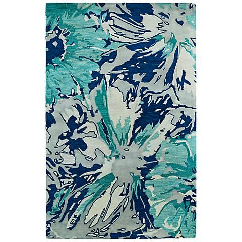 Kaleen Brushstrokes BRS06-17 Blue Wool Area Rug