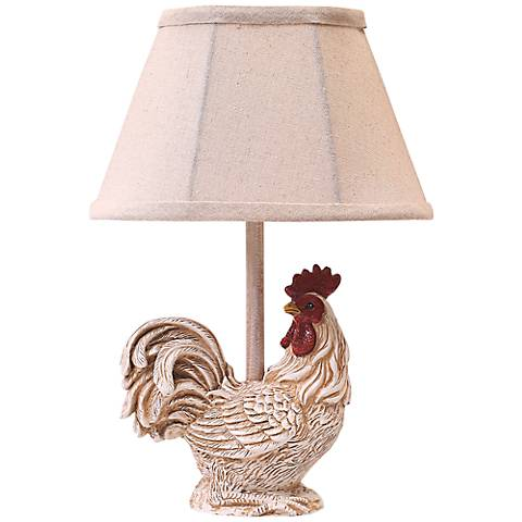 "Chante 12"" high Clair Rooster Accent Table Lamp"