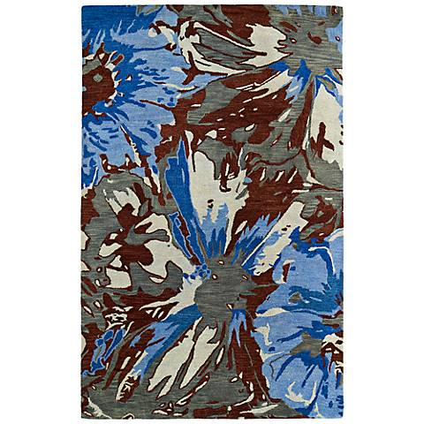 Kaleen Brushstrokes BRS06-86 Blue and Brown Wool Area Rug