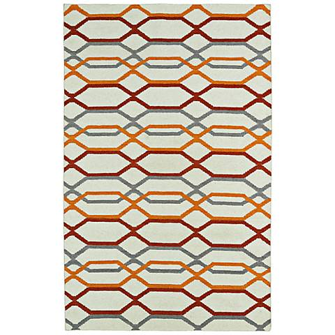 Kaleen Glam GLA01-01 Flatweave Red and Orange Wool Rug