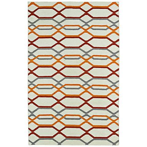 Kaleen Glam GLA01-01 Flatweave Red and Orange Wool Rug
