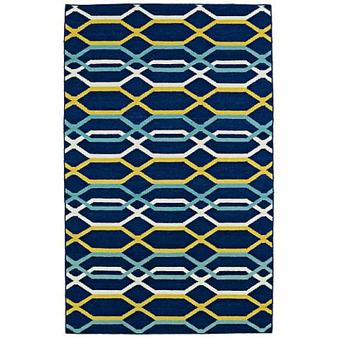 Kaleen Glam GLA01-22 Flatweave Navy Wool Area Rug