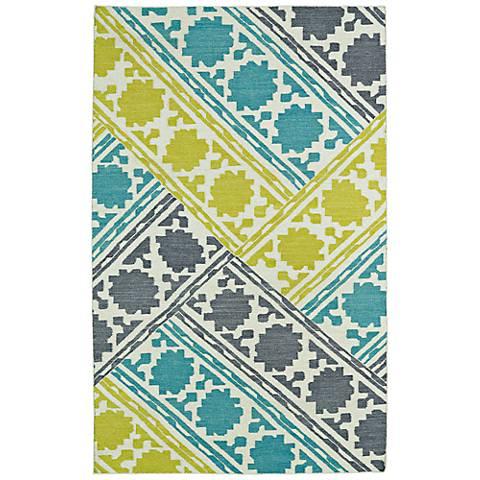 Kaleen Glam GLA02-78 Flatweave Blue and Green Wool Area Rug