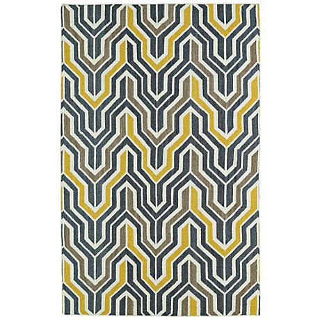 Kaleen Glam GLA03-28 Flatweave Yellow and Gray Wool Rug