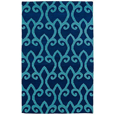 Kaleen Glam GLA05-17 Blue Flatweave Wool Area Rug