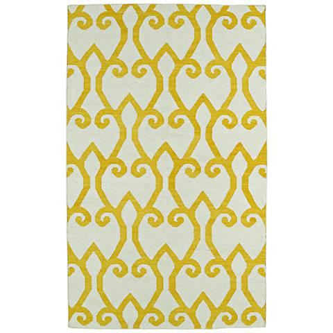 Kaleen Glam GLA05-28 Yellow Flatweave Wool Area Rug