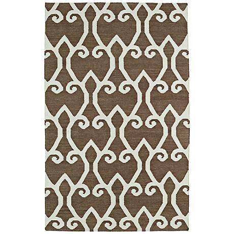 Kaleen Glam GLA05-49 Brown Flatweave Wool Area Rug