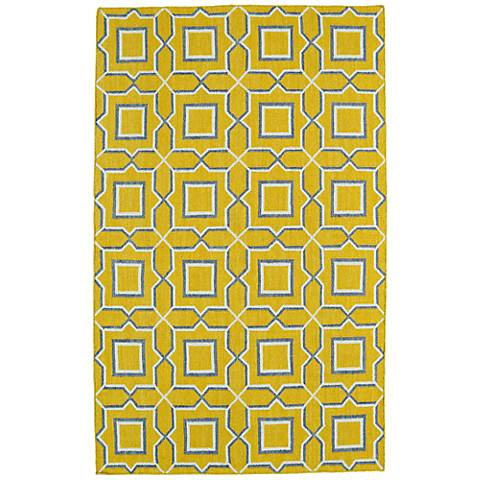 Kaleen Glam GLA06-28 Yellow Squares Flatweave Wool Area Rug