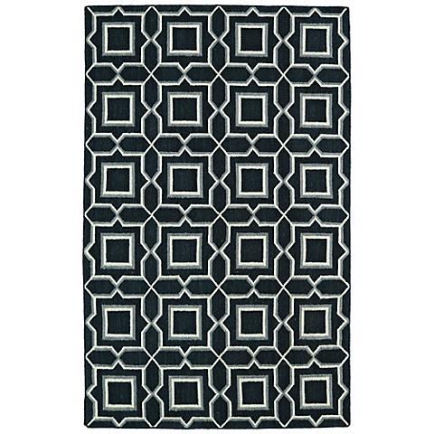 Kaleen Glam GLA06-38 Charcoal Black Squares Wool Area Rug