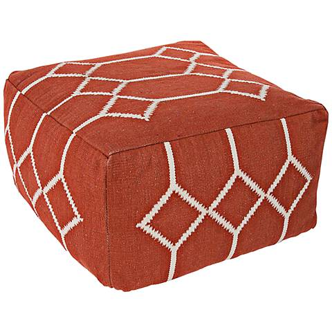 Jaipur Cadiz Red Diamond Square Pouf Ottoman