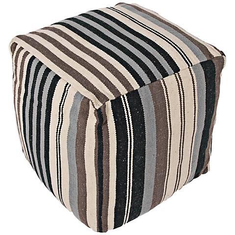Jaipur Cadiz Black Stripe Cube Pouf Ottoman