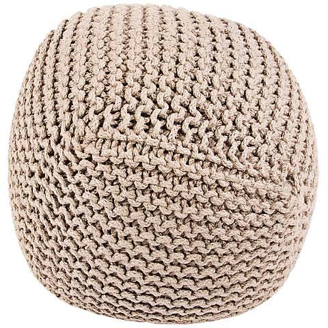 Jaipur Forda Ivory Jute Knit Pouf Ottoman