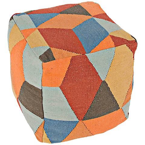 Jaipur En Casa by Luli Sanchez Orange Cube Pouf Ottoman
