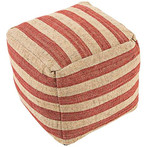 Jaipur Mason Red Striped Wool Cube Pouf Ottoman