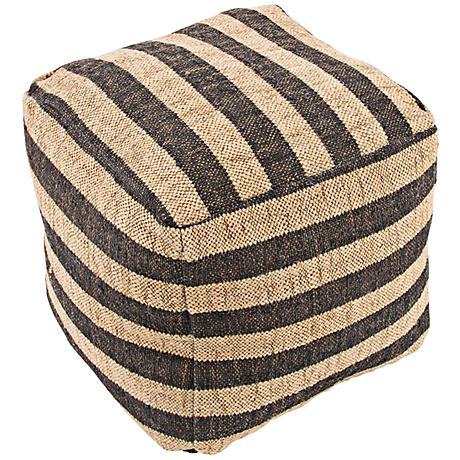 Jaipur Mason Black Striped Wool Cube Pouf Ottoman