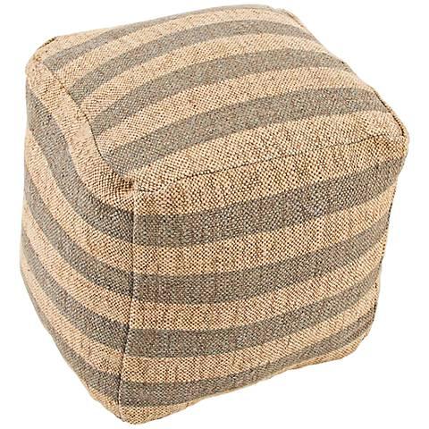 Jaipur Mason Gray Striped Wool Cube Pouf Ottoman