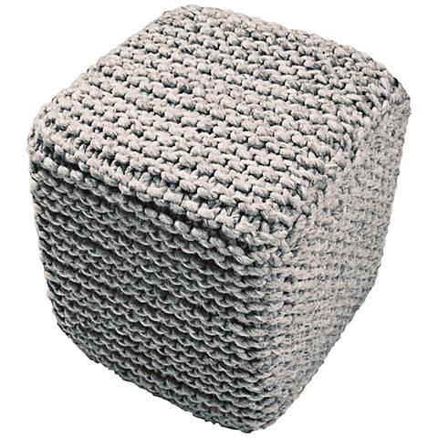 Jaipur Scandinavia Gray Wool Cube Pouf Ottoman