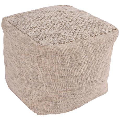 jaipur scandinavia taupe wool cube pouf ottoman 6y684 lamps plus. Black Bedroom Furniture Sets. Home Design Ideas