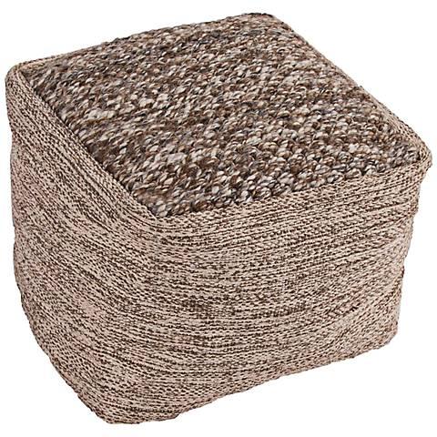 Jaipur Scandinavia Dark Taupe Wool Cube Pouf Ottoman